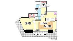 ジークレフ新神戸タワー[12F号室]の間取り