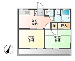神奈川県川崎市高津区向ケ丘の賃貸アパートの間取り