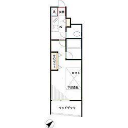 JR中央本線 武蔵小金井駅 徒歩8分の賃貸アパート 1階1Kの間取り