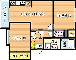 ロジュマン本城[3階]の間取り