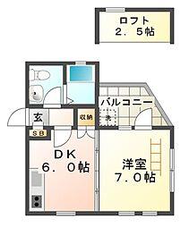 メゾンドリュウ東園田[3階]の間取り