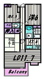 東京都町田市能ヶ谷3丁目の賃貸マンションの間取り