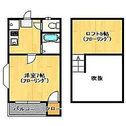 福岡県福岡市早良区城西2丁目の賃貸アパートの間取り