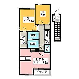 カーサモーダS[2階]の間取り