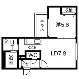 札幌市電2系統 中島公園通駅 徒歩4分の賃貸マンション 1階1LDKの間取り