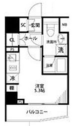 プレール・ドゥーク横濱紅葉坂 3階ワンルームの間取り