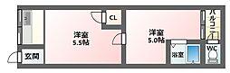大阪府大阪市東住吉区湯里2丁目の賃貸アパートの間取り