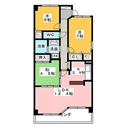 ライオンズマンション名西緑地[3階]の間取り