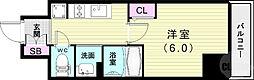 エステムコート神戸元町IIブリーズ 2階1Kの間取り