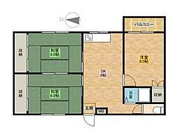 西町ロイヤルマンション[301号室]の間取り