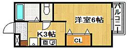 Miyabi 2階1Kの間取り