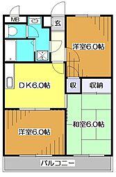東京都東村山市萩山町3丁目の賃貸マンションの間取り