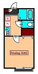 JR中央本線 国分寺駅 徒歩8分の賃貸アパート 1階ワンルームの間取り