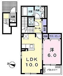 クラール・Y 2階1LDKの間取り