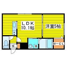 札幌市営東豊線 元町駅 徒歩6分の賃貸マンション 2階1LDKの間取り