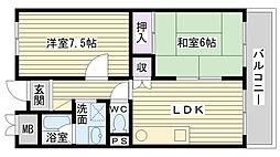 アーバン北田[707号室]の間取り