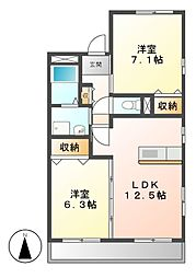 愛知県名古屋市中川区江松1丁目の賃貸マンションの間取り