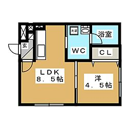 es東札幌[4階]の間取り