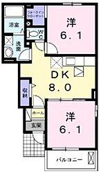 カーサ プリートB[1階]の間取り