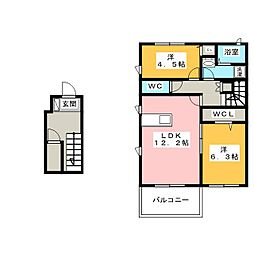 コンフォート引山南 B棟[2階]の間取り