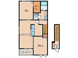 JR和歌山線 紀伊小倉駅 バス12分 相谷西下車 徒歩4分の賃貸アパート 2階2LDKの間取り