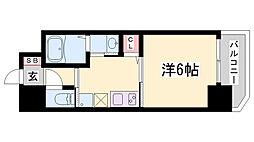 ワールドアイ神戸湊町 11階1Kの間取り