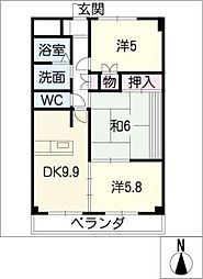 サニーコート桑名[2階]の間取り
