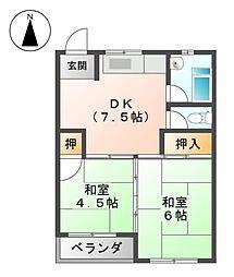 丸一荘A・B棟[3階]の間取り