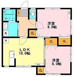 神奈川県横浜市中区山手町の賃貸アパートの間取り