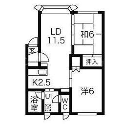 北海道札幌市豊平区平岸三条11丁目の賃貸アパートの間取り