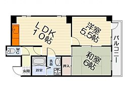 大阪府堺市西区鳳中町2丁の賃貸マンションの間取り