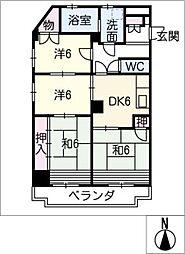 赤坂マンション藤が丘301号室[3階]の間取り