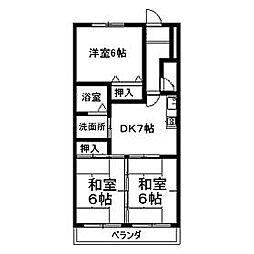 コンフォール高蔵寺[2B号室]の間取り
