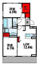 D-roomS・K A棟[2階]の間取り