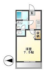 愛知県名古屋市守山区更屋敷の賃貸アパートの間取り
