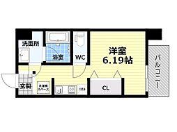 Osaka Metro四つ橋線 肥後橋駅 徒歩5分の賃貸マンション 3階1Kの間取り