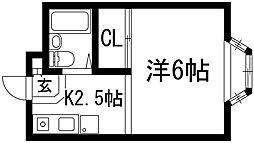 兵庫県宝塚市長尾台1丁目の賃貸アパートの間取り
