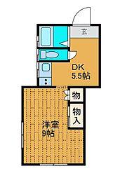 神奈川県座間市相模が丘5丁目の賃貸アパートの間取り