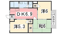 兵庫県姫路市神子岡前2丁目の賃貸アパートの間取り