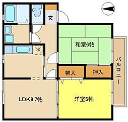 兵庫県姫路市四郷町坂元の賃貸アパートの間取り