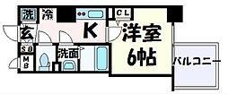 JR東海道・山陽本線 三ノ宮駅 徒歩7分の賃貸マンション 10階1Kの間取り