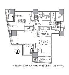 都営大江戸線 汐留駅 徒歩4分の賃貸マンション 25階1LDKの間取り