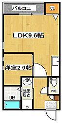 福岡県福岡市中央区地行4丁目の賃貸アパートの間取り