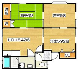 筑紫野サザンハイツ[101号室]の間取り