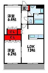 コリーナベルデI 2階2LDKの間取り