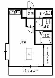 JR長崎本線 道ノ尾駅 徒歩3分の賃貸マンション 2階ワンルームの間取り