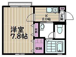埼玉県さいたま市桜区町谷の賃貸アパートの間取り