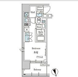 東京メトロ有楽町線 新富町駅 徒歩3分の賃貸マンション 9階ワンルームの間取り
