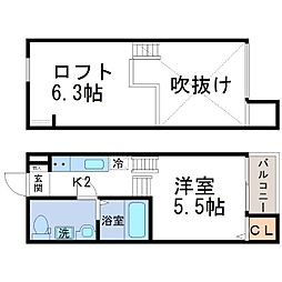 macaron mou 瓦宮(マカロンモウ)[2階]の間取り