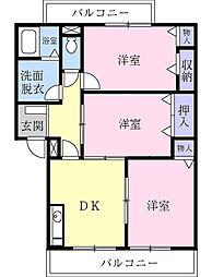 神奈川県大和市渋谷2丁目の賃貸マンションの間取り